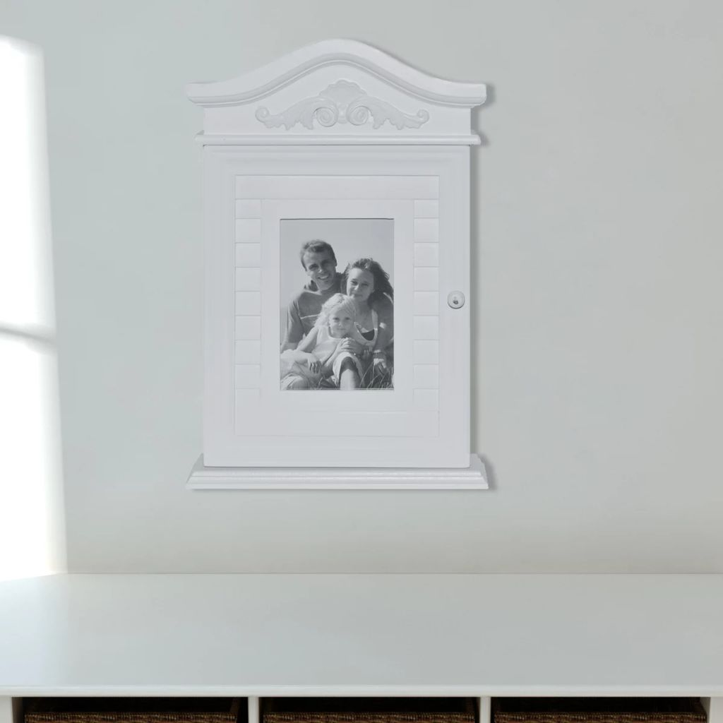 Key Cabinet with Photo Frame White 4