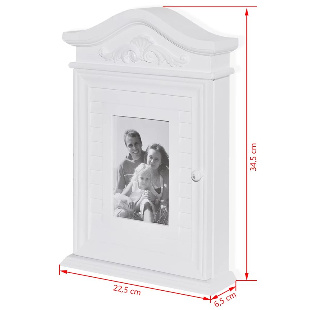 Key Cabinet with Photo Frame White 9