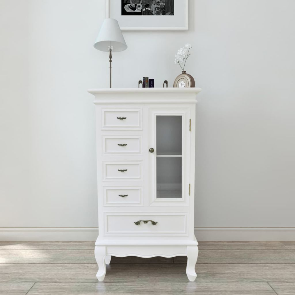 Cabinet with 5 Drawers 2 Shelves White 1
