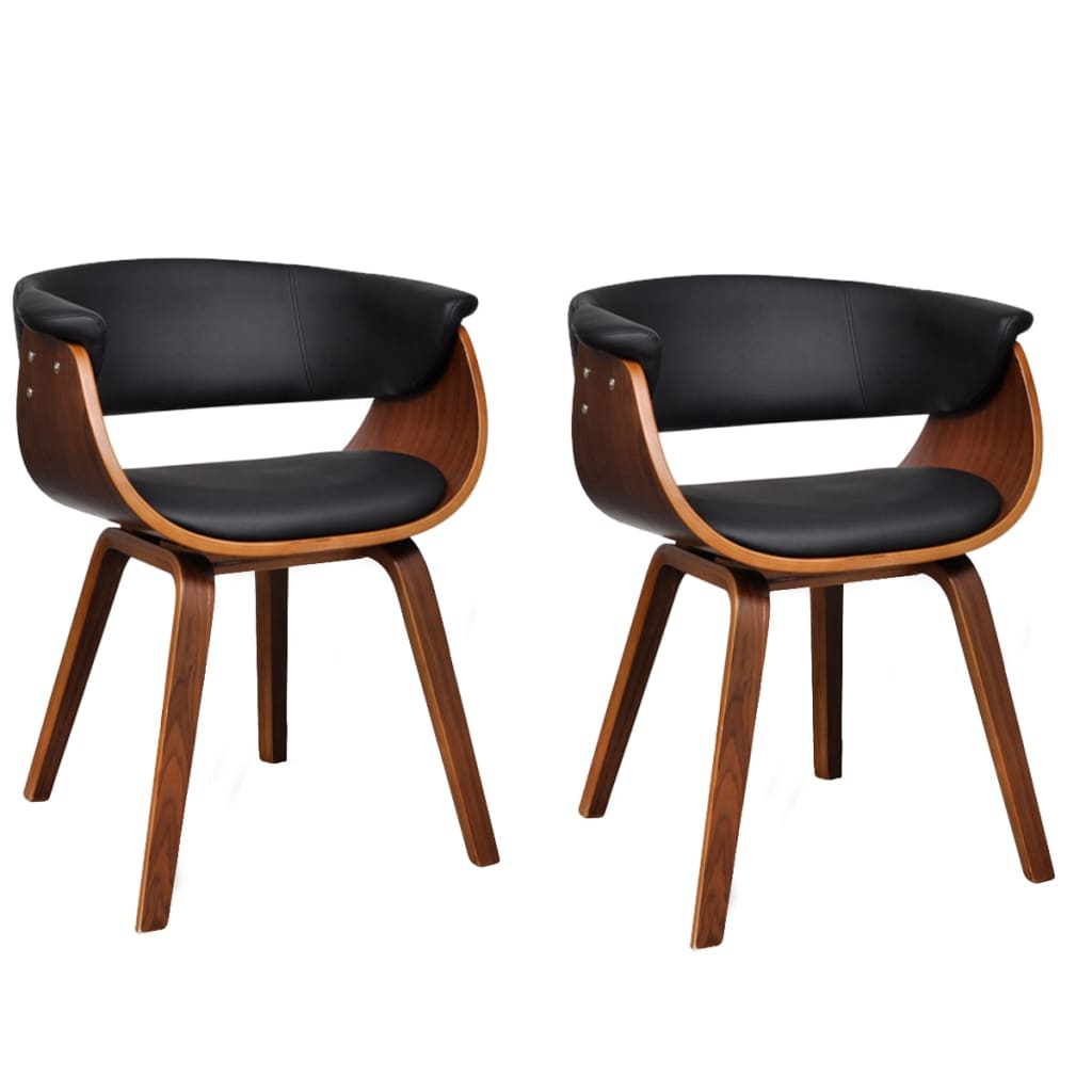 Dining Chairs 2 pcs Bent Wood and Faux Leather