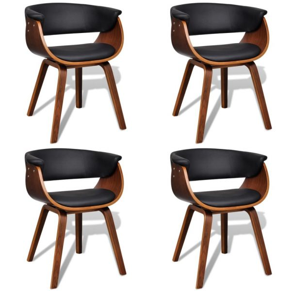 Dining Chairs 4 pcs Bent Wood and Faux Leather 1