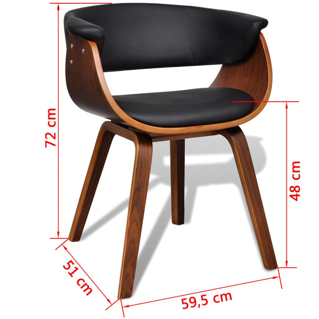 Dining Chairs 4 pcs Bent Wood and Faux Leather 8
