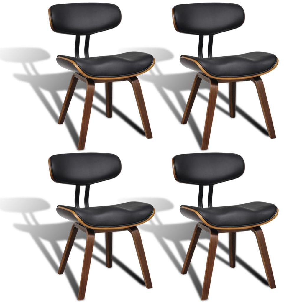 Dining Chairs 4 pcs Bent Wood and Faux Leather