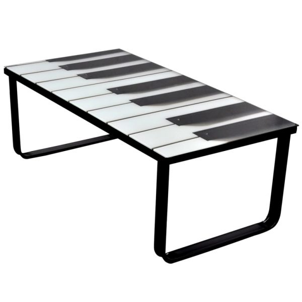 Coffee Table with Piano Printing Glass Top 1