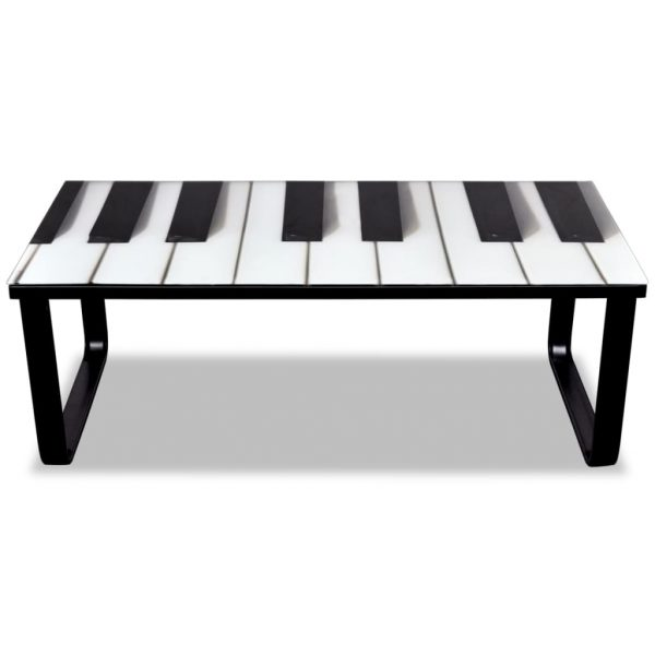 Coffee Table with Piano Printing Glass Top 3