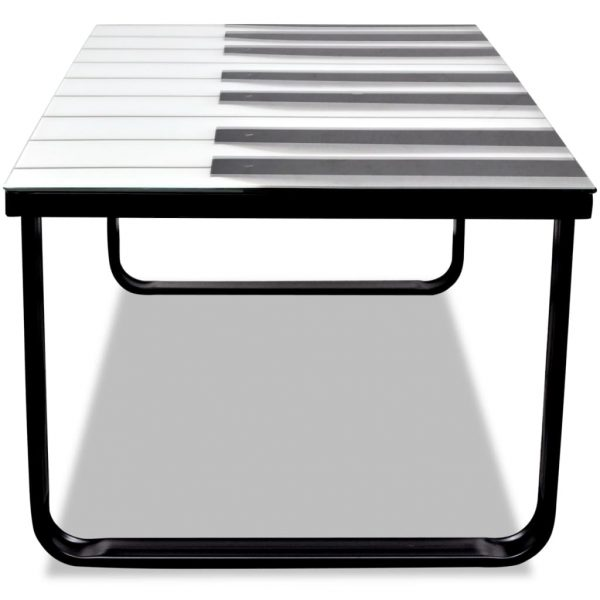 Coffee Table with Piano Printing Glass Top 4