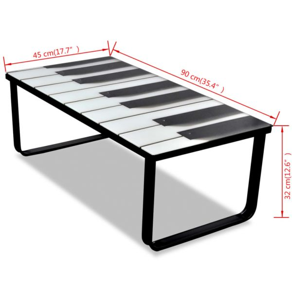 Coffee Table with Piano Printing Glass Top 7