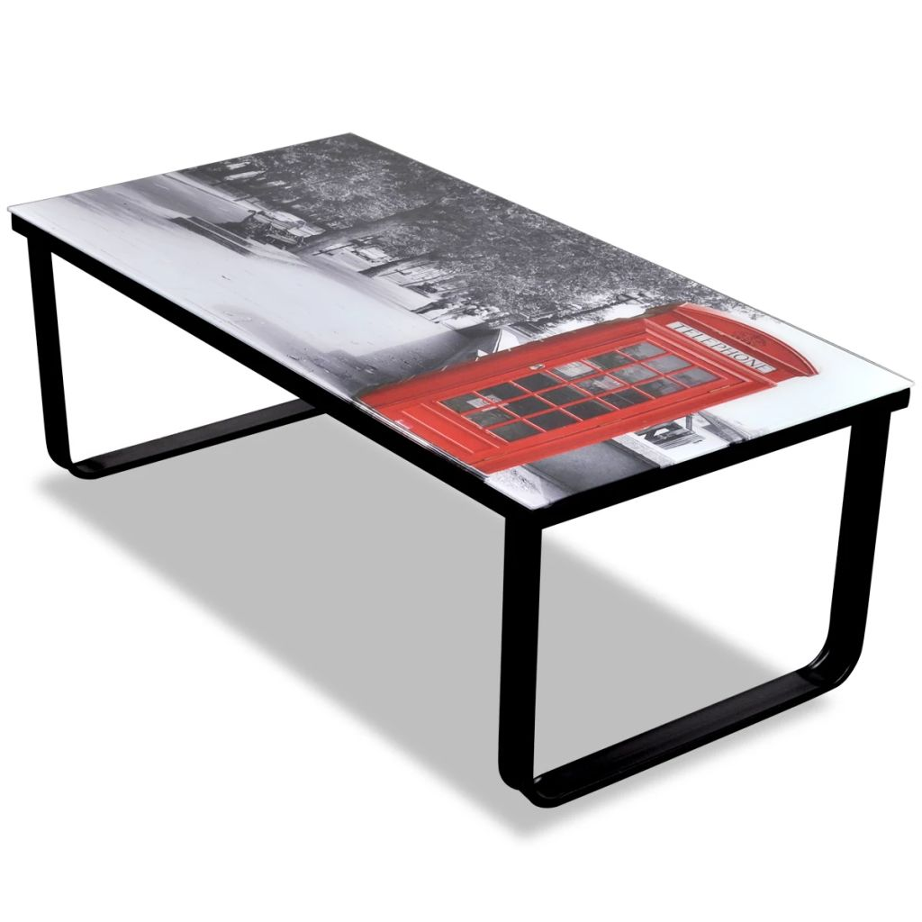 Coffee Table with Telephone Booth Printing Glass Top 1