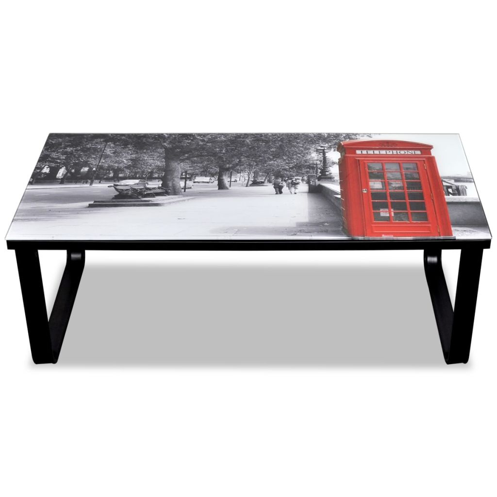 Coffee Table with Telephone Booth Printing Glass Top 4