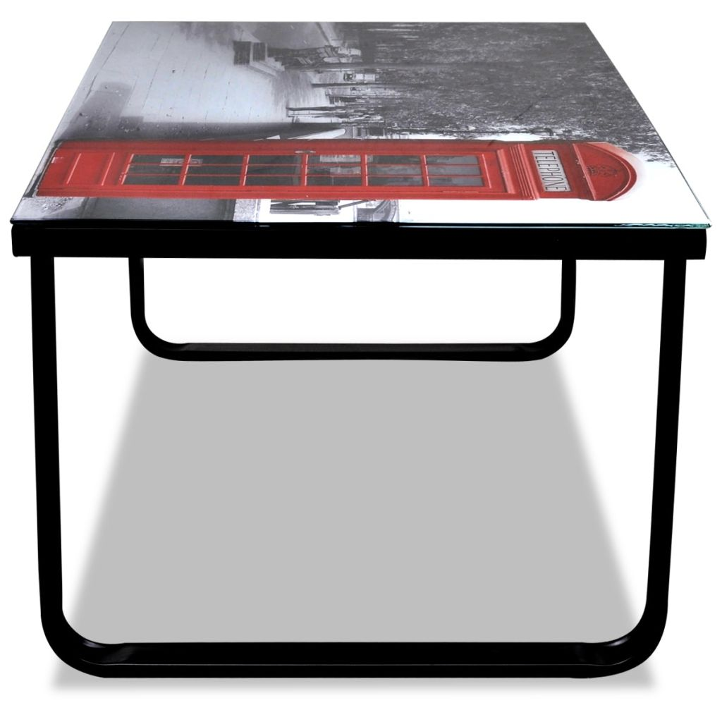 Coffee Table with Telephone Booth Printing Glass Top 5