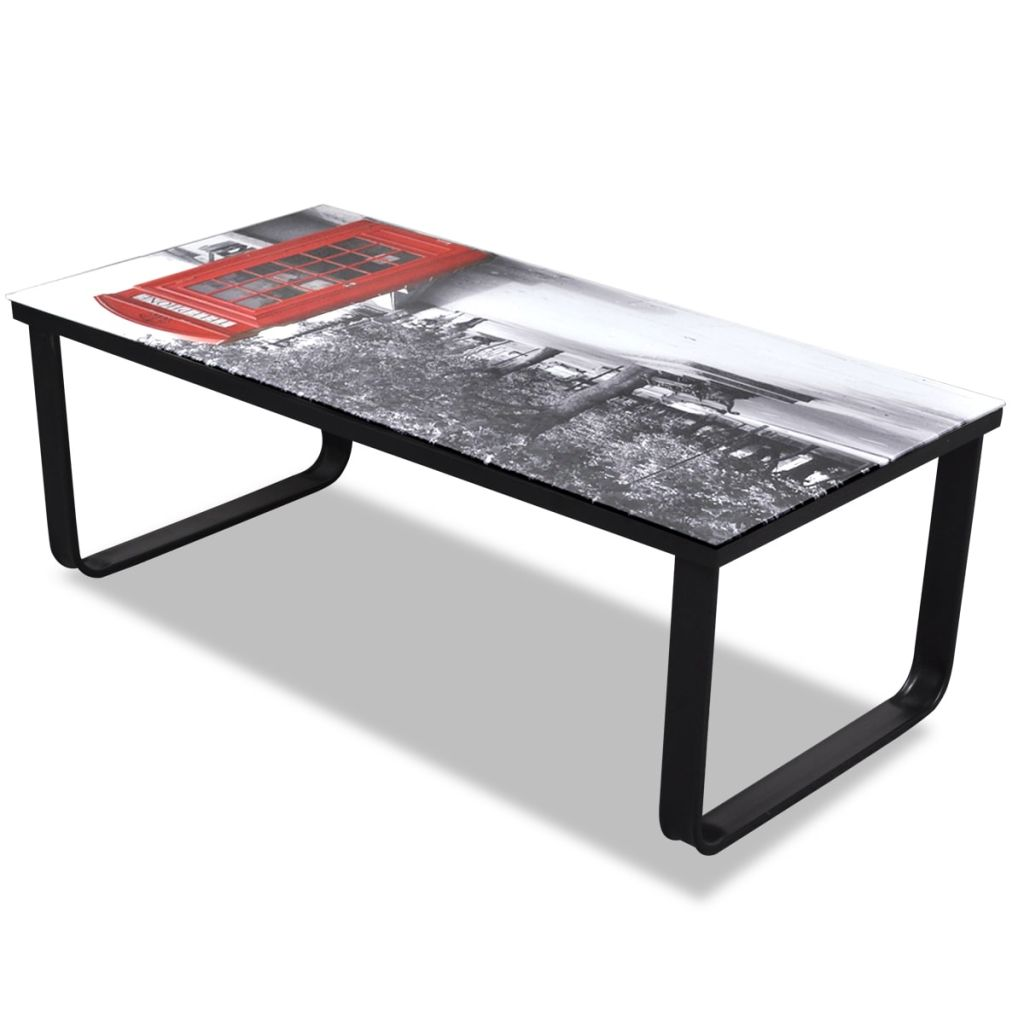 Coffee Table with Telephone Booth Printing Glass Top 6