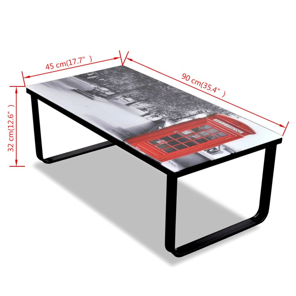 Coffee Table with Telephone Booth Printing Glass Top 7