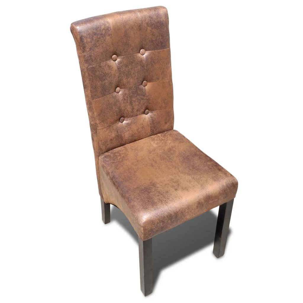 Dining Chairs 4 pcs Brown Faux Leather 3