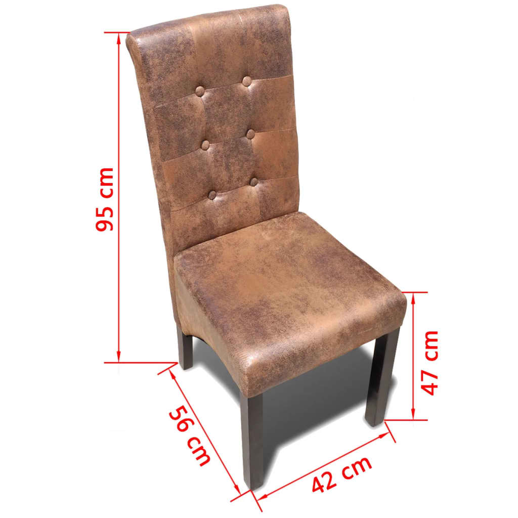 Dining Chairs 4 pcs Brown Faux Leather 6