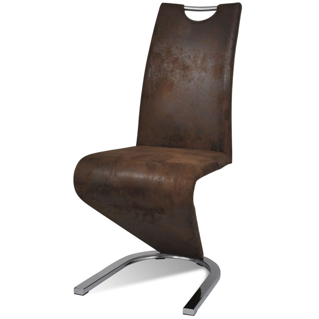 Dining Chairs 2 pcs Brown Faux Leather 4