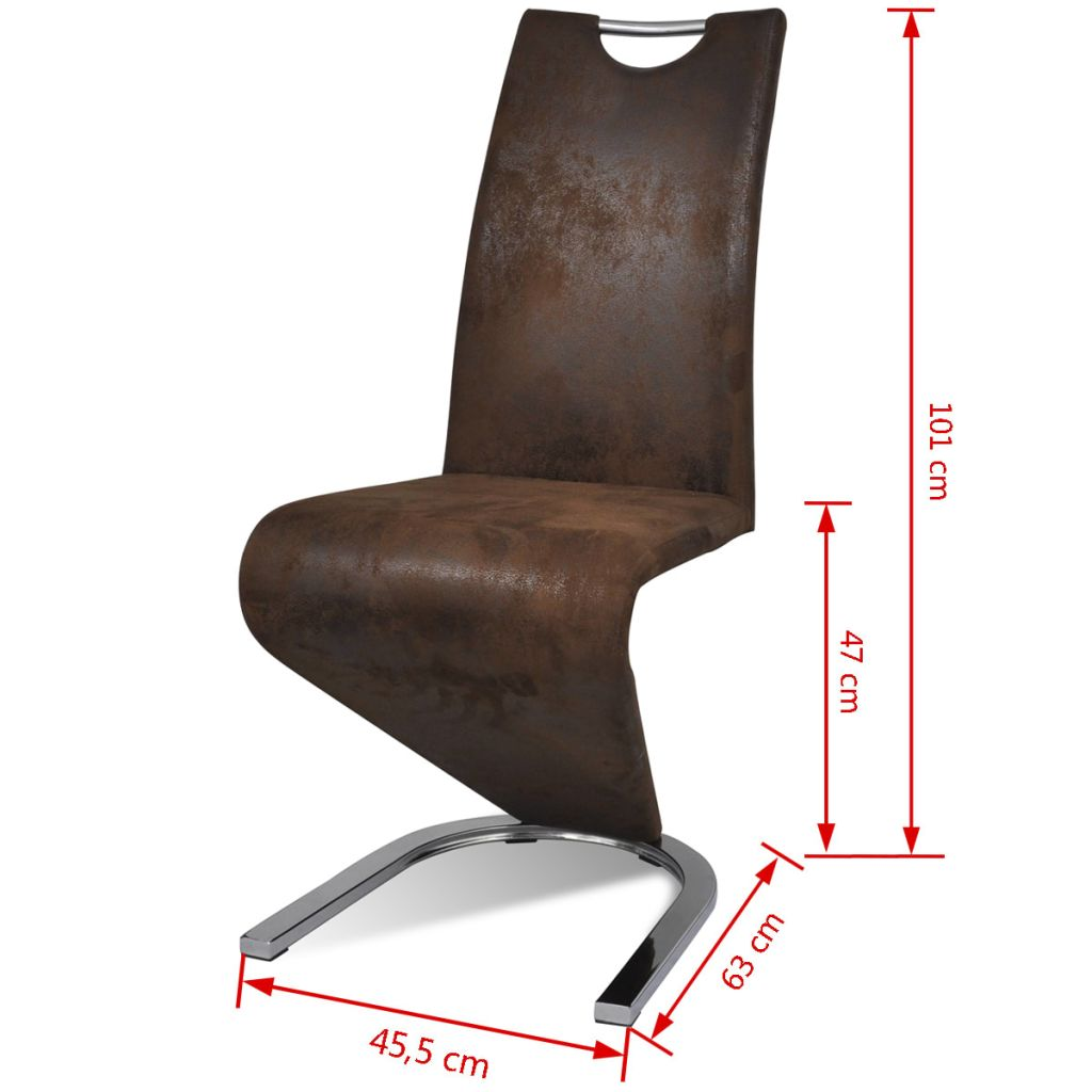 Dining Chairs 2 pcs Brown Faux Leather 8