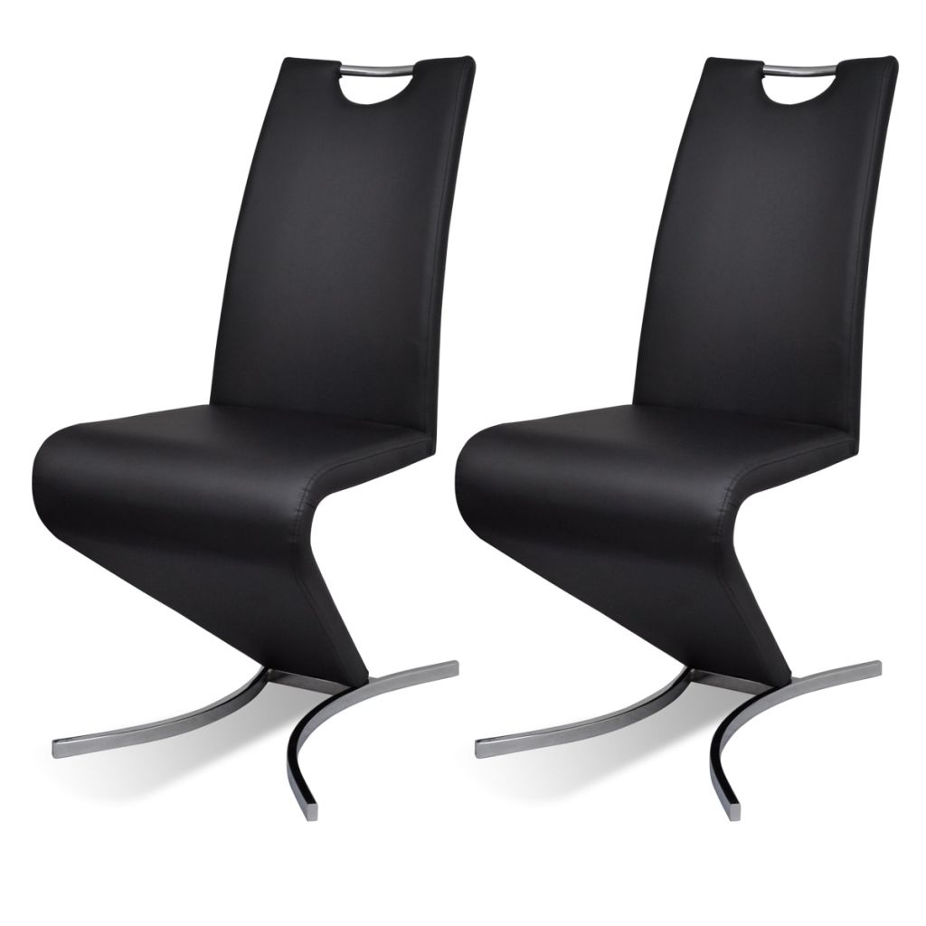 Dining Chairs 2 pcs Black Faux Leather 2