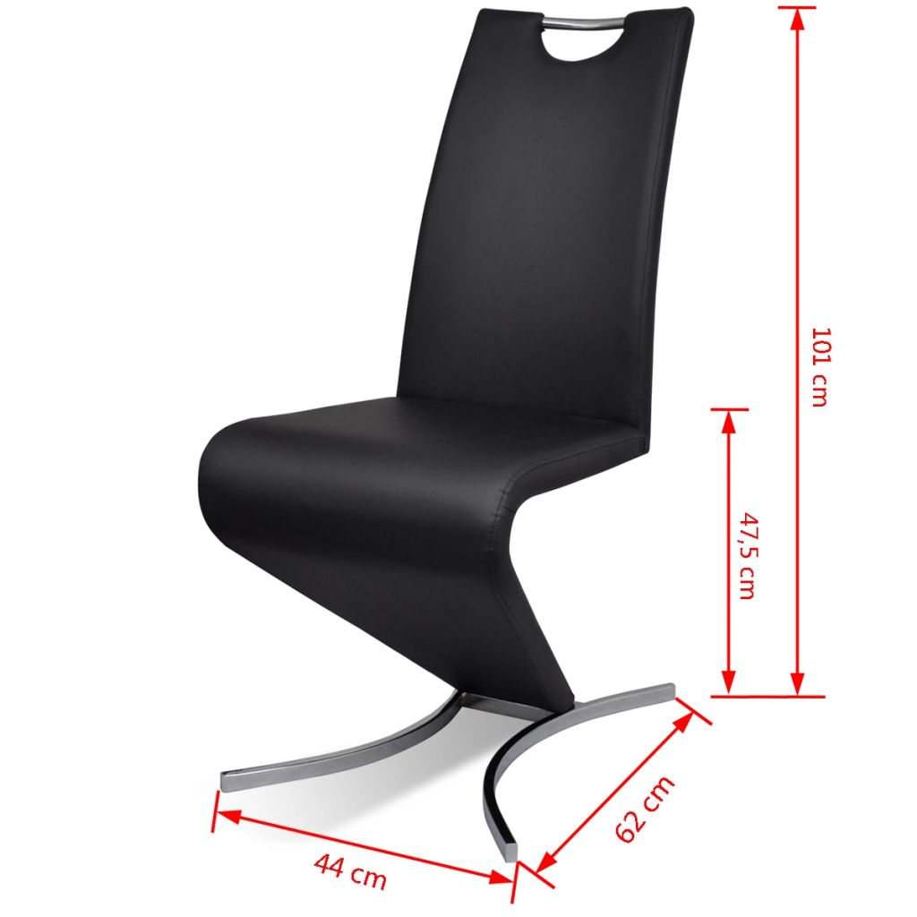 Dining Chairs 2 pcs Black Faux Leather 7