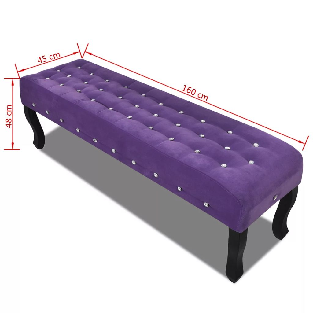 Purple Bench Velvet Fabric with Crystal Buttons 4