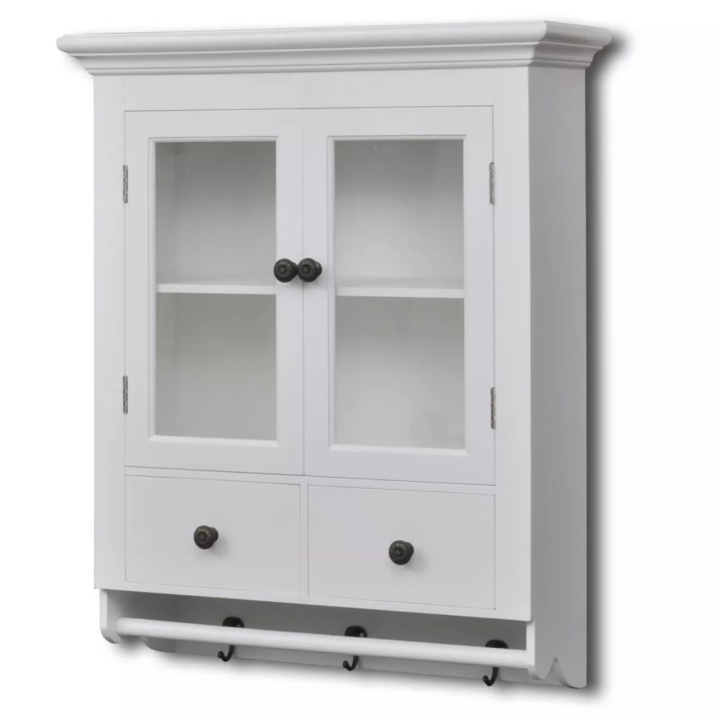 Wooden Kitchen Wall Cabinet with Glass Door White 1