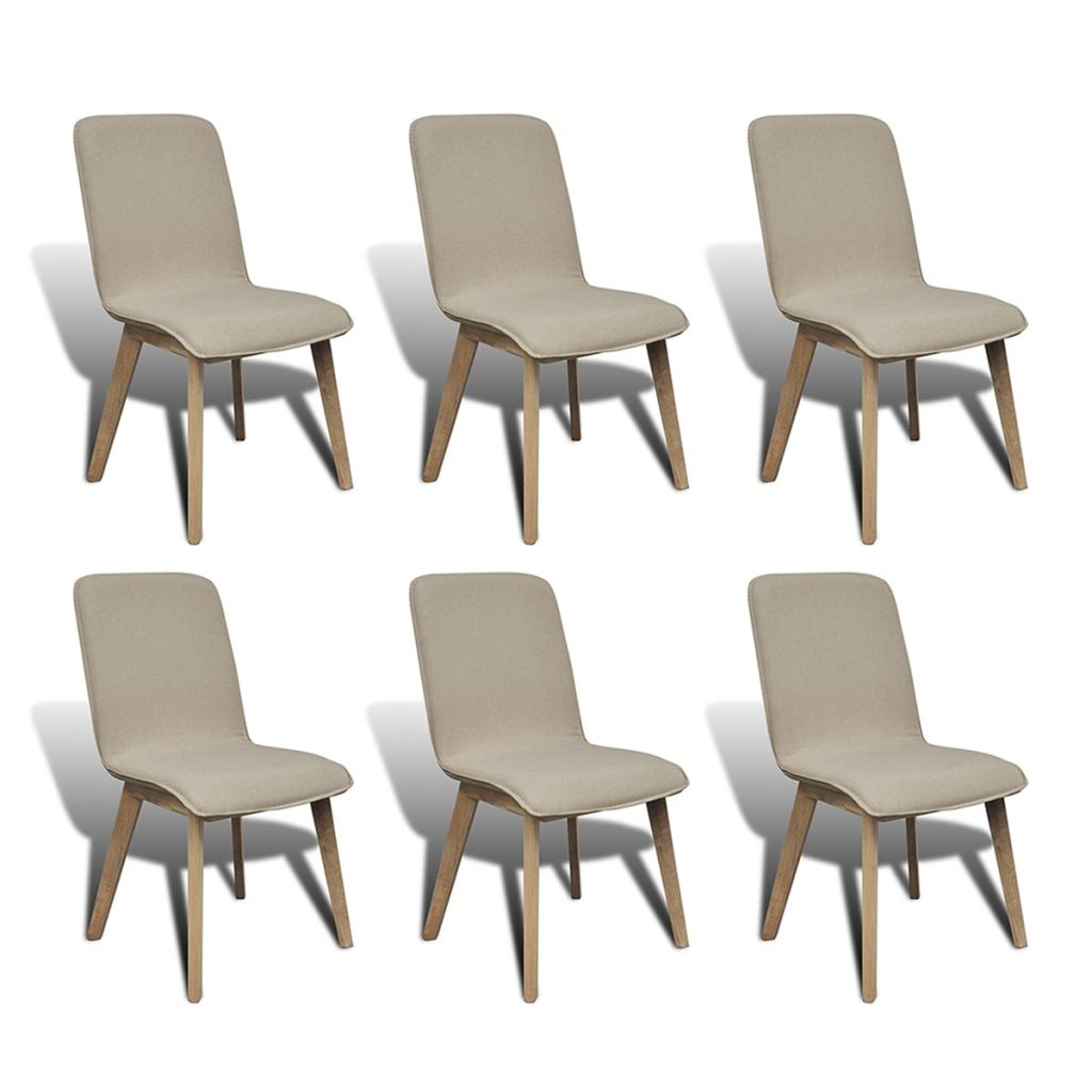 Dining Chairs 6 pcs Beige Fabric and Solid Oak Wood