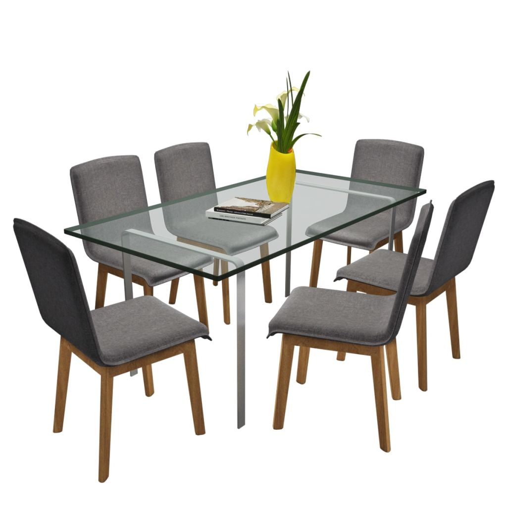 Dining Chairs 6 pcs Light Grey Fabric and Solid Oak Wood (241153+241154) 2