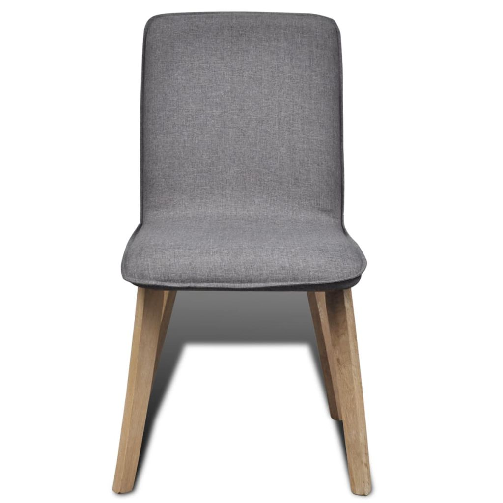 Dining Chairs 6 pcs Light Grey Fabric and Solid Oak Wood (241153+241154) 3