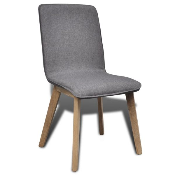 Dining Chairs 6 pcs Light Grey Fabric and Solid Oak Wood (241153+241154) 6
