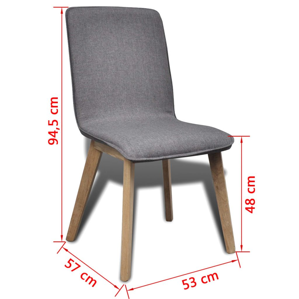 Dining Chairs 6 pcs Light Grey Fabric and Solid Oak Wood (241153+241154) 7