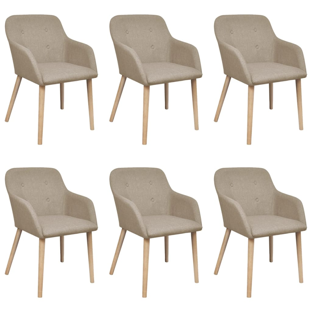 Dining Chairs 6 pcs Beige Fabric and Solid Oak Wood 1