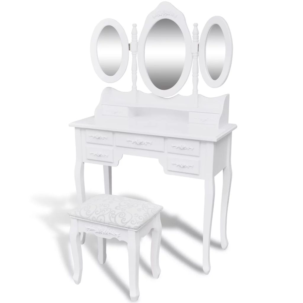 Dressing Table with Stool and 3 Mirrors White