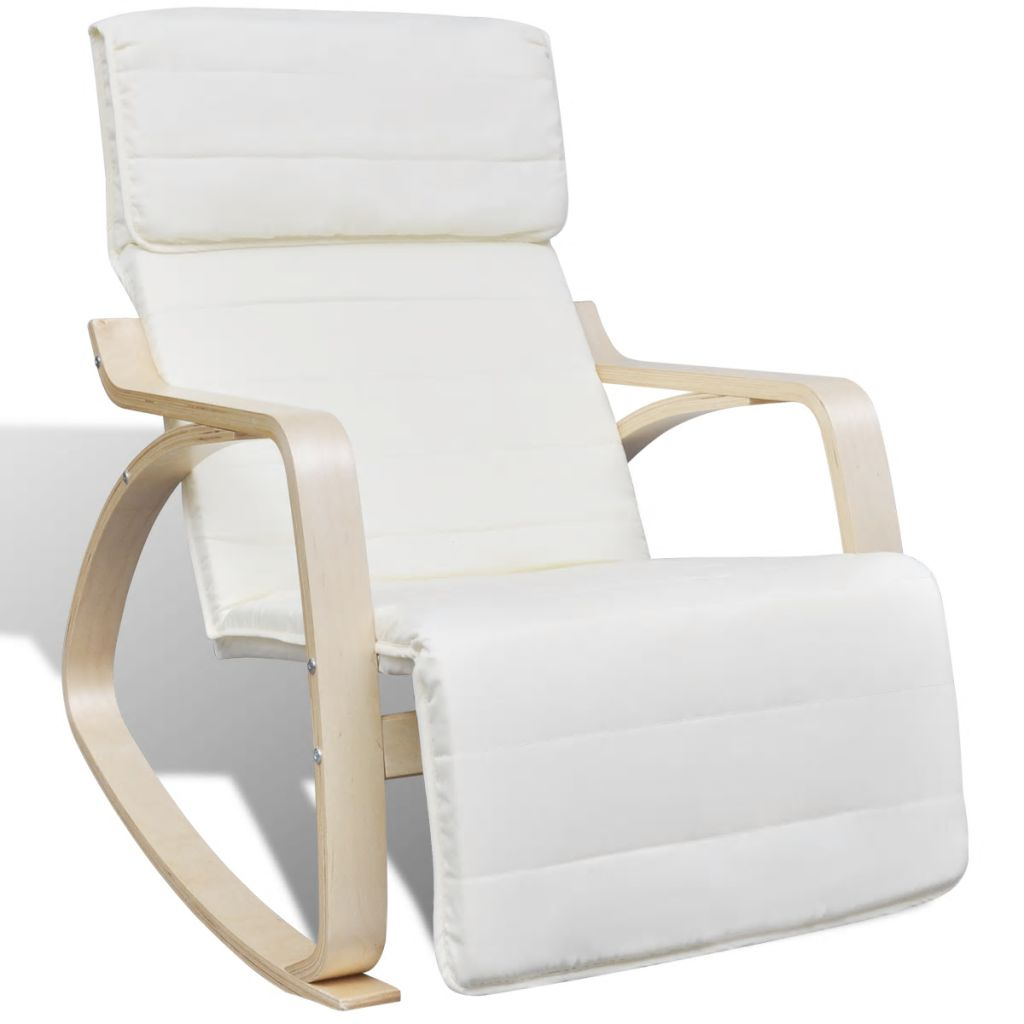 Rocking Chair Cream Bentwood and Fabric 1