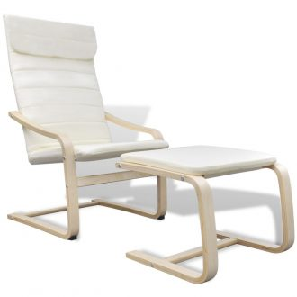 Armchair with Bentwood Frame Cream Fabric 1