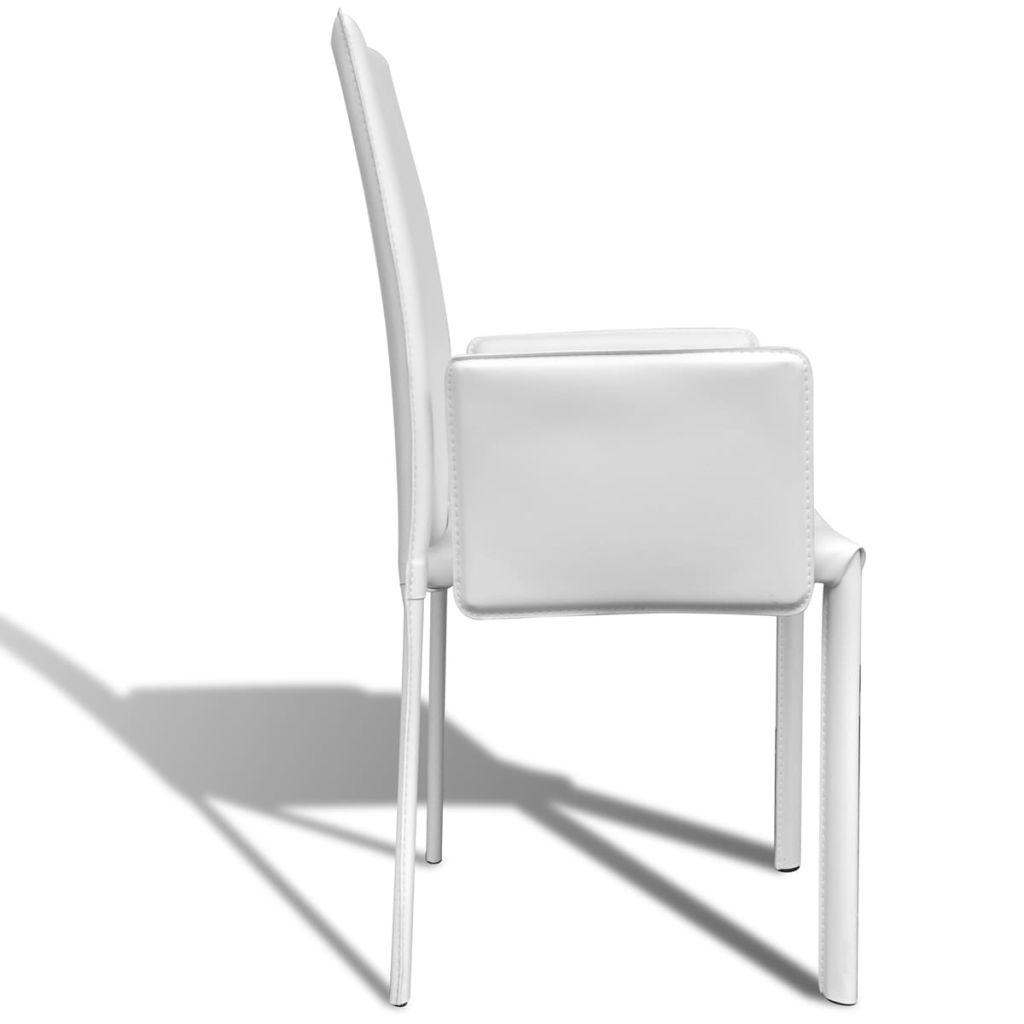 Dining Chairs 4 pcs White Faux Leather 6