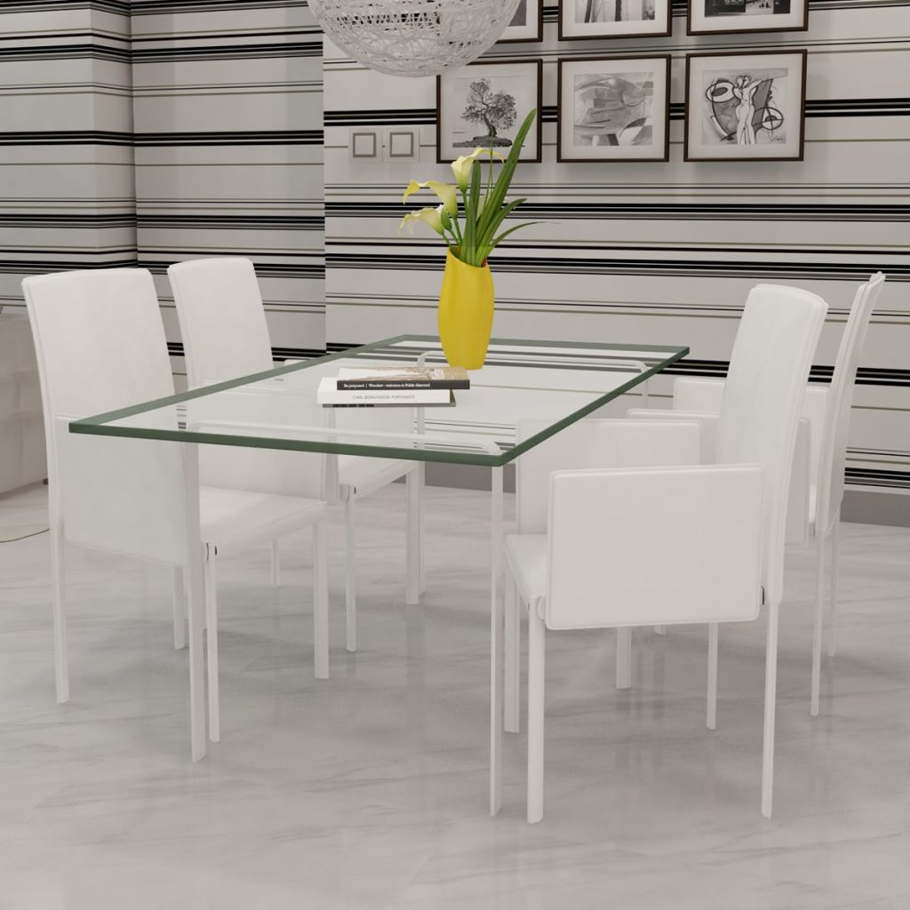 Dining Chairs 4 pcs White Faux Leather 1