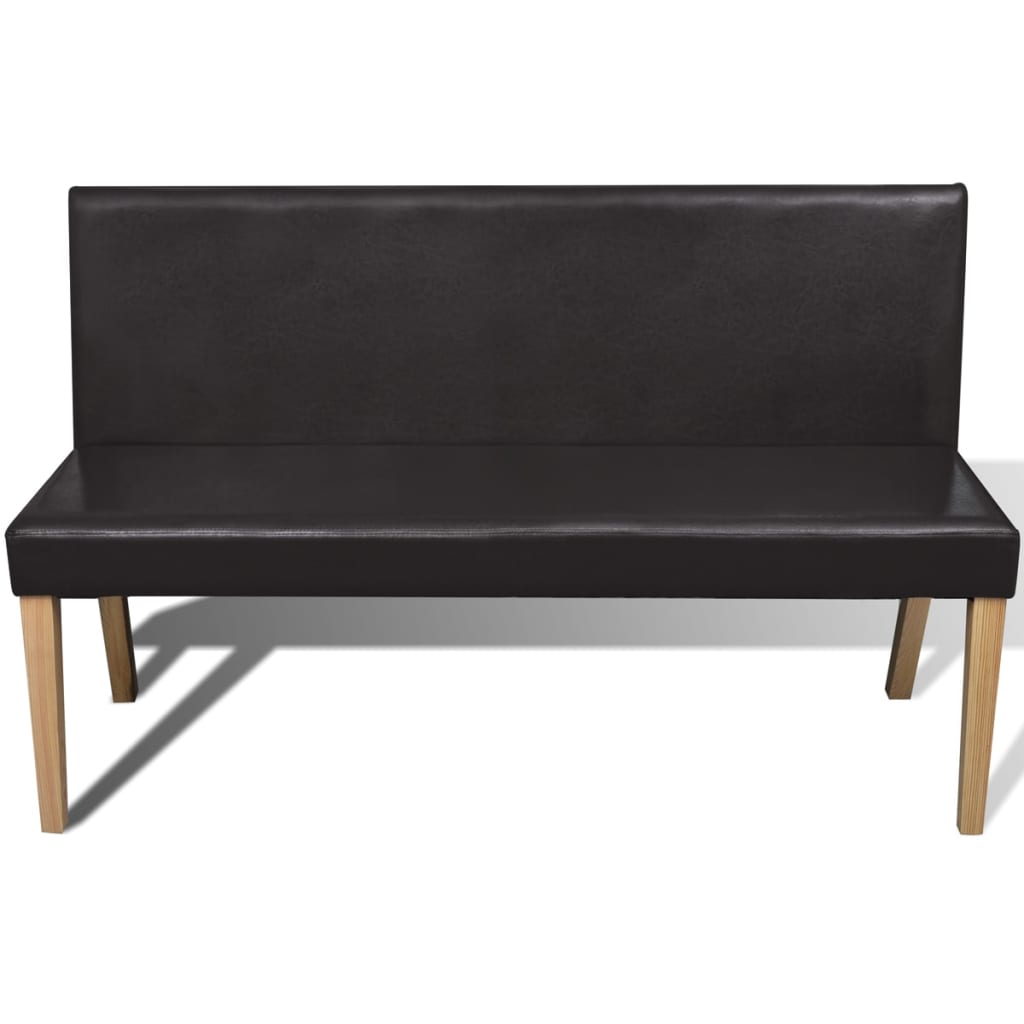 Sofa Chair Artificial Leather Bench Dark Brown 3
