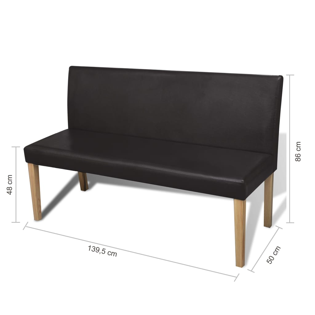 Sofa Chair Artificial Leather Bench Dark Brown 5