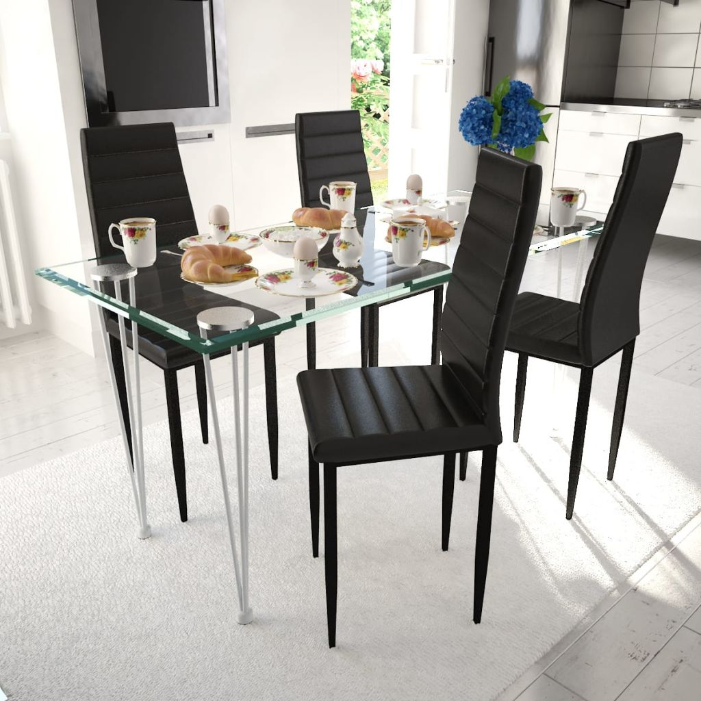 Dining Chairs 4 pcs Black Faux Leather 1
