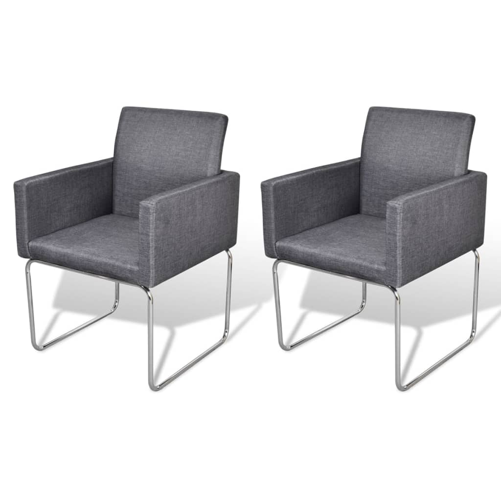 Dining Chairs 2 pcs Dark Grey Fabric 2