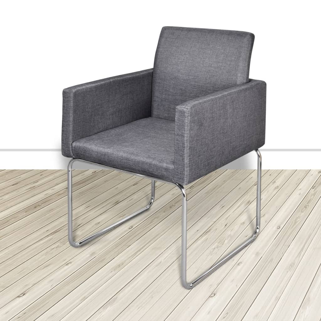 Dining Chairs 2 pcs Dark Grey Fabric 4