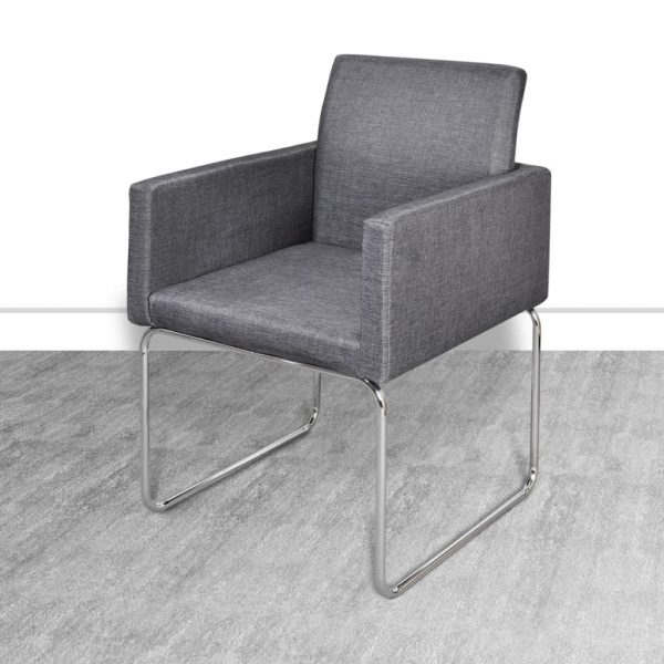 Dining Chairs 2 pcs Dark Grey Fabric 5