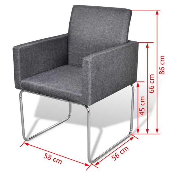 Dining Chairs 2 pcs Dark Grey Fabric 9