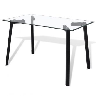 Dining Table with Glass Top and Black Legs 1