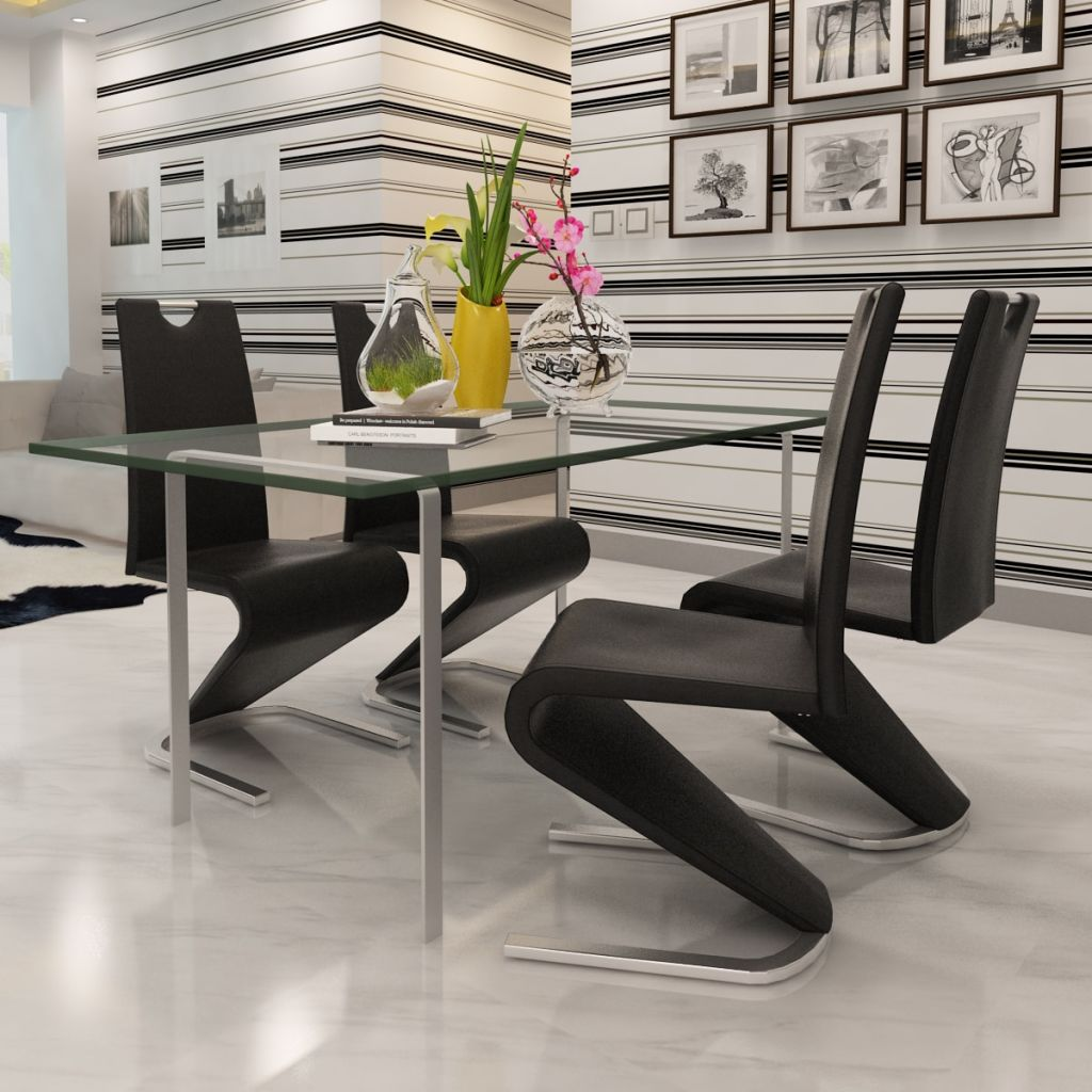 Dining Chairs 4 pcs Black Faux Leather 3