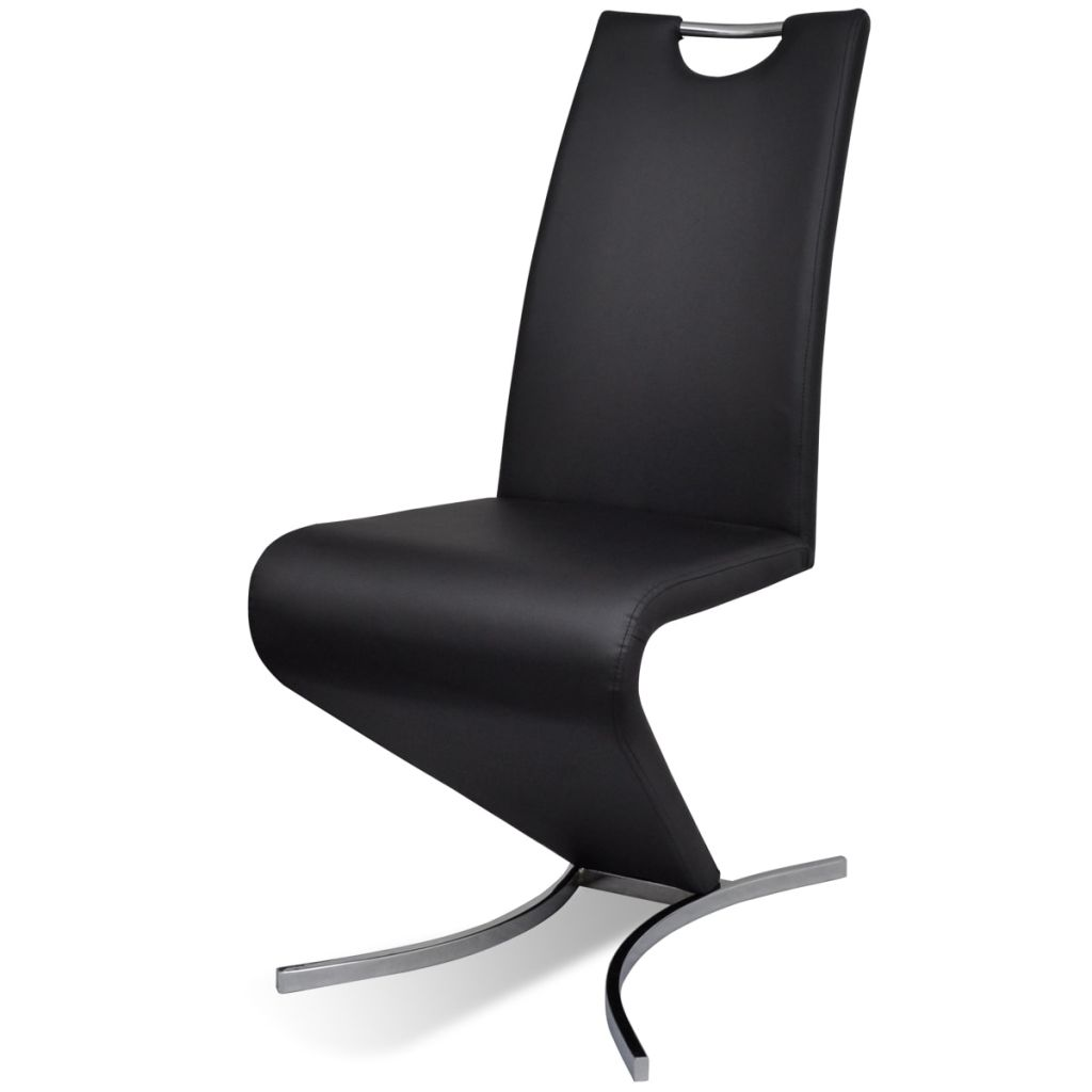 Dining Chairs 4 pcs Black Faux Leather 4