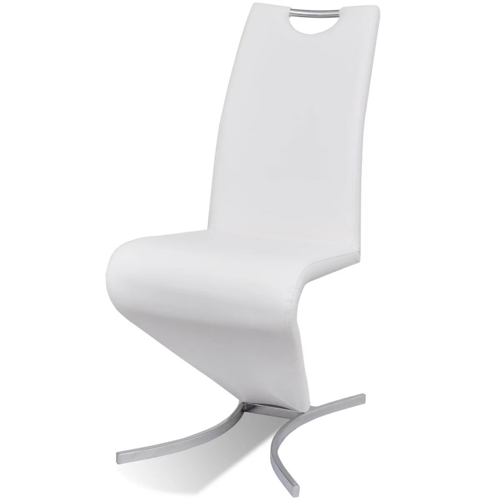 Dining Chairs 6 pcs White Faux Leather 4