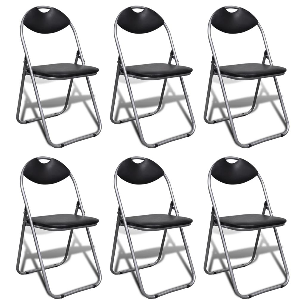 Folding Dining Chairs 6 pcs Black Faux Leather and Steel 1