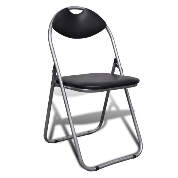 Folding Dining Chairs 6 pcs Black Faux Leather and Steel 2