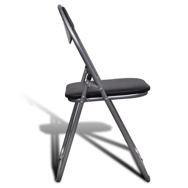 Folding Dining Chairs 6 pcs Black Faux Leather and Steel 4