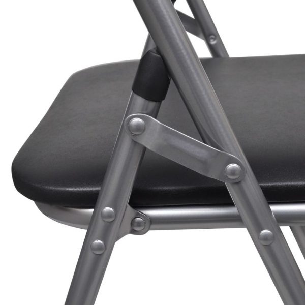 Folding Dining Chairs 6 pcs Black Faux Leather and Steel 7